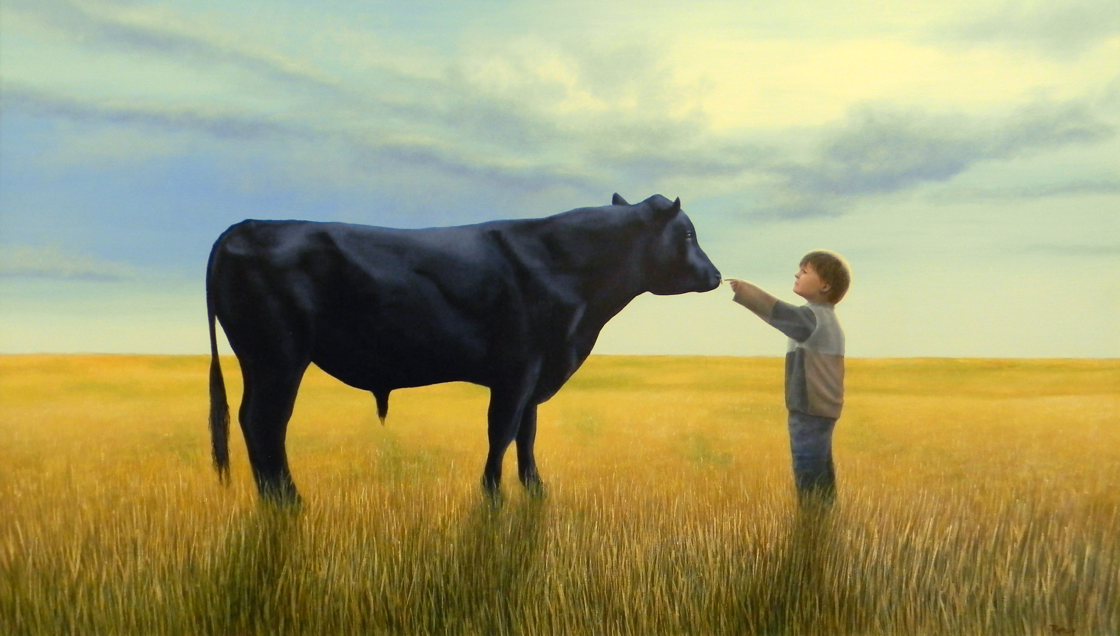 Small Human with Bull