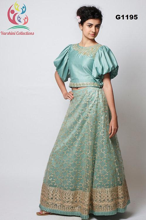 Pastel Blue net Girls Lehenga Choli - G1195