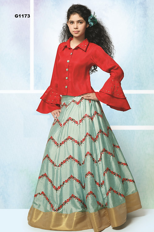 Red and teal  embroidered Silk Girls  Lehenga Choli - G1173