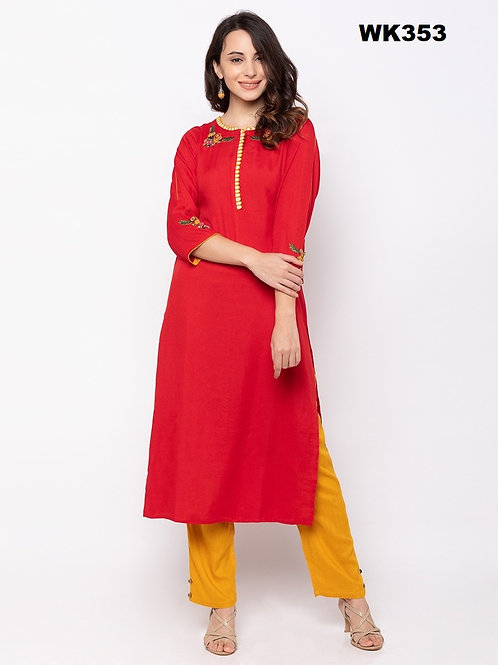 Bright Red Cotton Round Neck Plazo Set for Women WK353