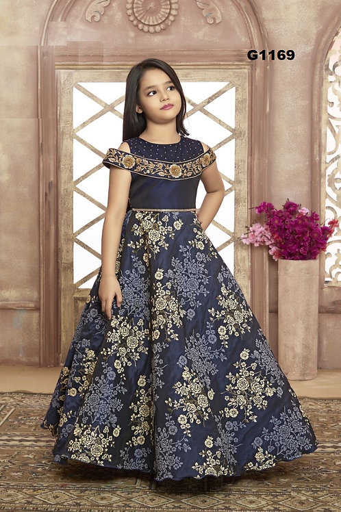 Navy Blue Girls Long Gown  - G1169