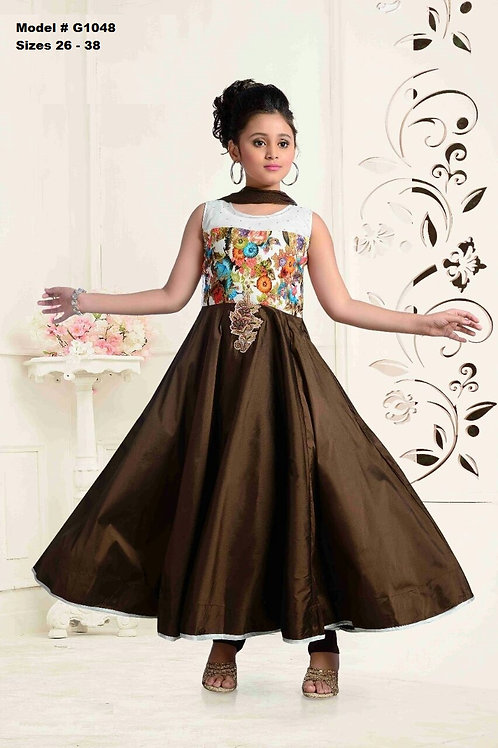 Espresso hued girls Anarkali set - G1048