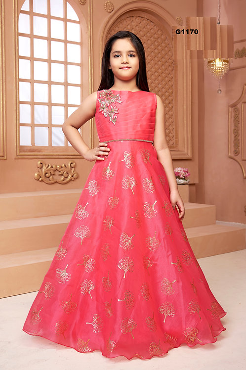 Pink organza Girls Long Gown  - G1170
