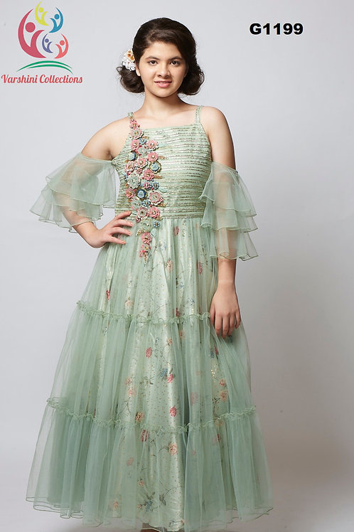 Modern Pista Green Net Floor Length Long Gown - G1199