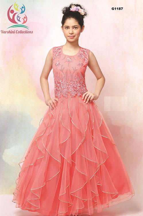 Peach Hue Net fabric Flower Girl Gown- G1187