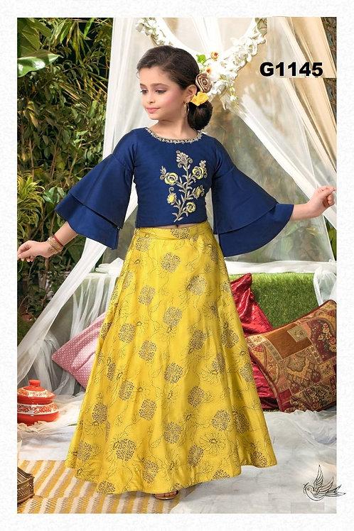 Blue and yellow Girls Ethnic Fancy Lehenga Choli - G1145