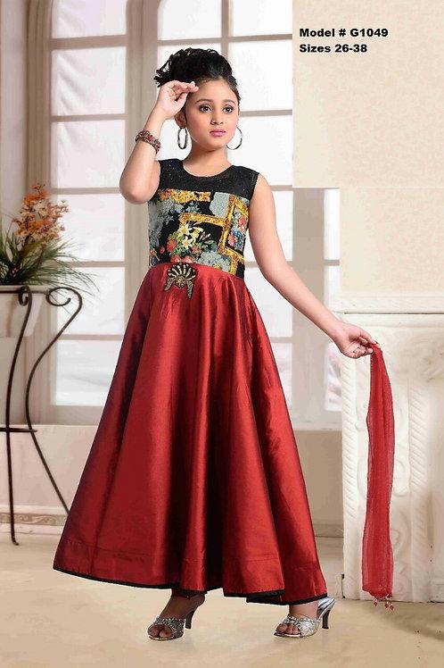 Bright Red and Black girls Anarkali set - G1049