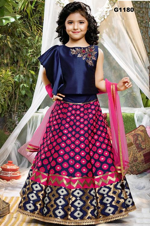 Banaras Blue and Pink Girls Lehenga Choli - G1180
