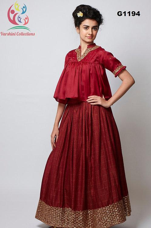 Traditional Maroon hued silk Lehenga Choli - G1194