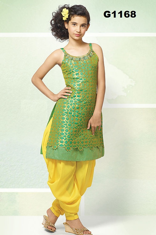 Green and yellow Girl's silk Patiala set - G1168