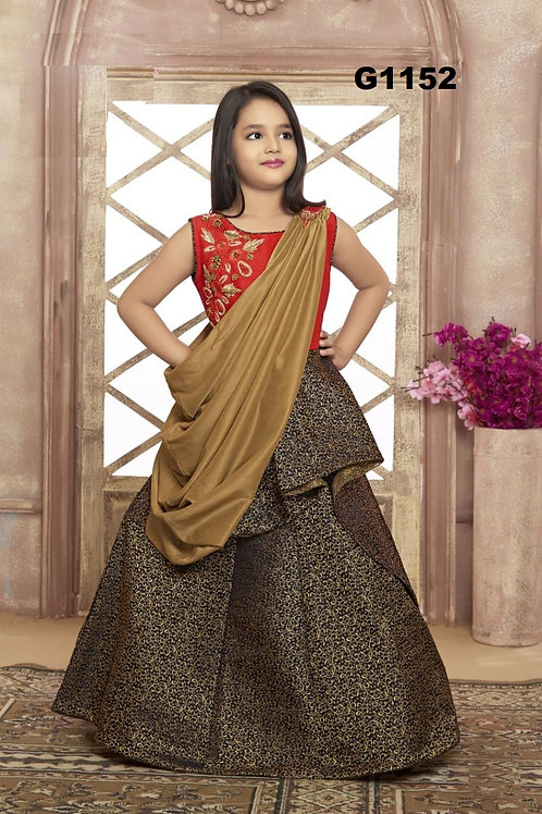 Red and Black Girls Brocade Designer Gown  - G1152