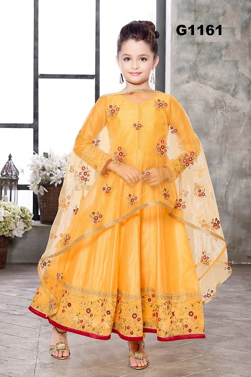 Bright yellow Silk Anarkali set -G1161
