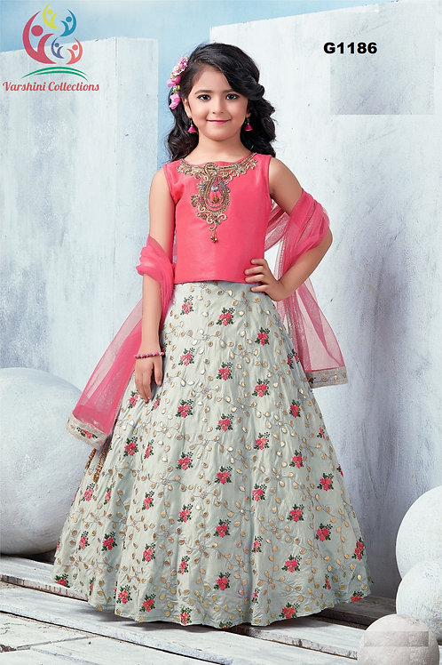 Pink and grey Girls Lehenga Choli - G1186