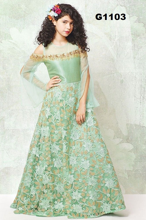 Amazing Girl's Partywear Long Gown in Pistachio Green - G1103
