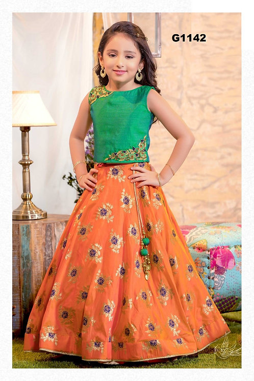 Orange and Green Girls partywear lehenga choli- G1142