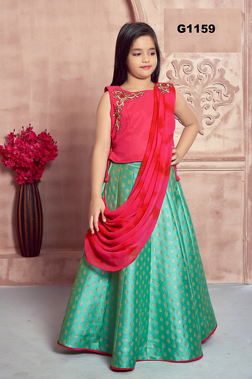 Pink and green brocade Girls  Lehenga Choli - G1159