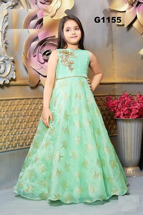 Pastel Green  Girls Long Gown  - G1155