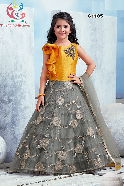 Grey and Yellow Designer Girls Lehenga Choli - G1185