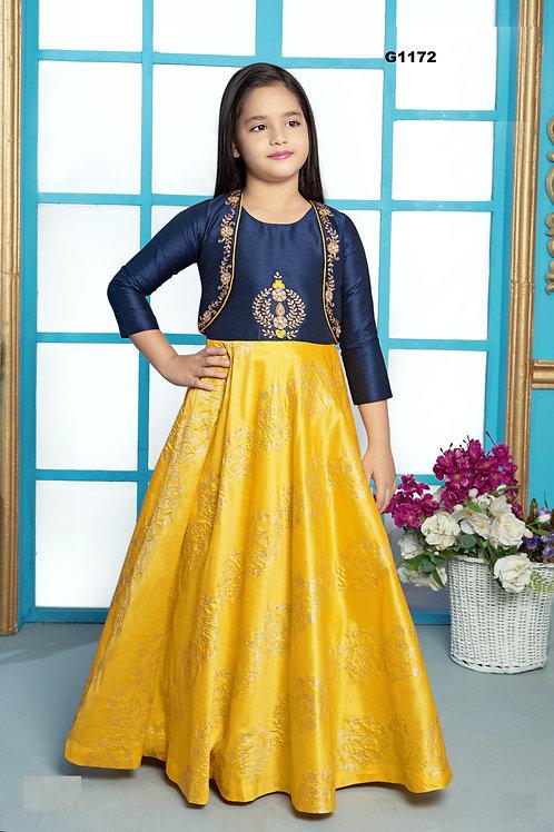 Yellow silk Girls Long Gown  - G1172