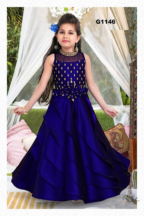 Navyblue Weddingwear silk Designer Gown - G1146