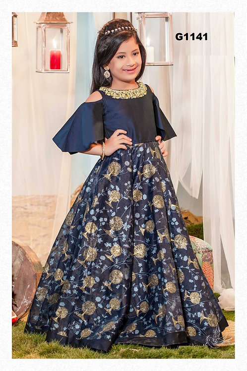 Navyblue girls partywear gown with gold printed flowers - G1141