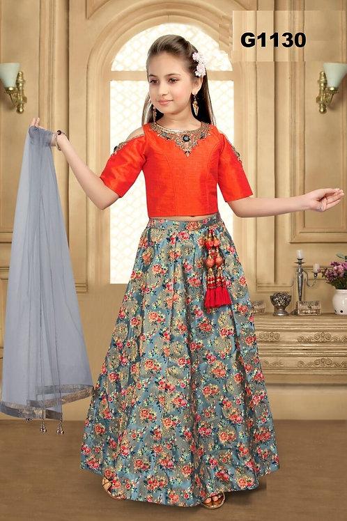 Floral Digital print Lehenga with orange croptop for girls G1130