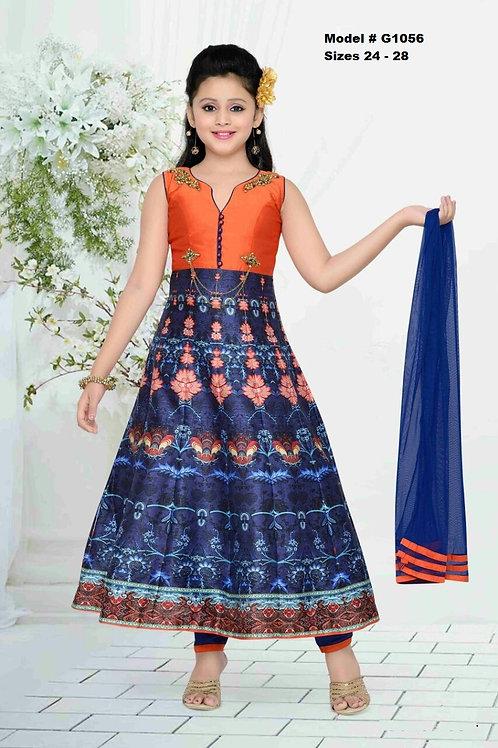 Blue and Orange Digitalprinted Girl's Anarkali Dress - G1056