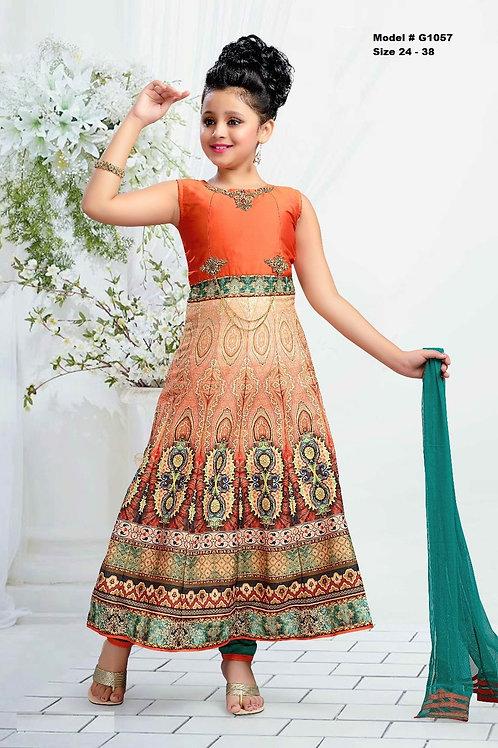 Orange and Green Digital printed Girl's Anarkali Dress - G1057