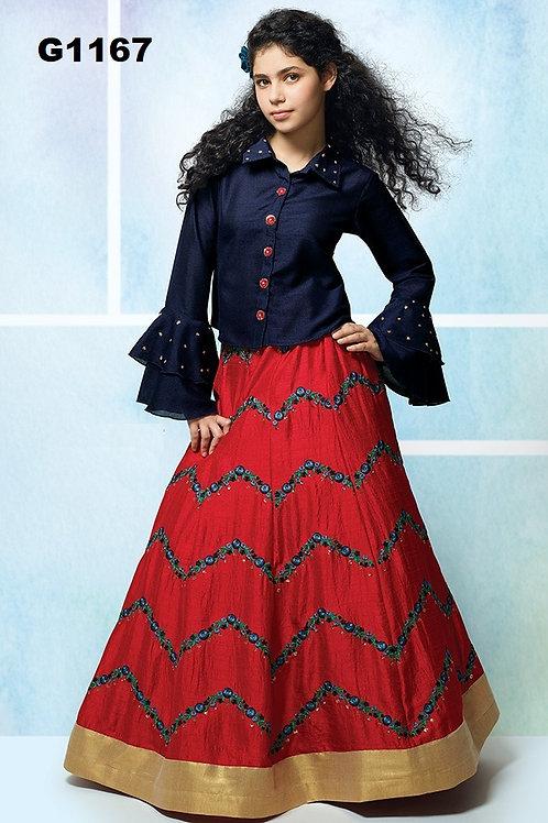 Red and Navyblue  embroidered Silk Girls  Lehenga Choli - G1167