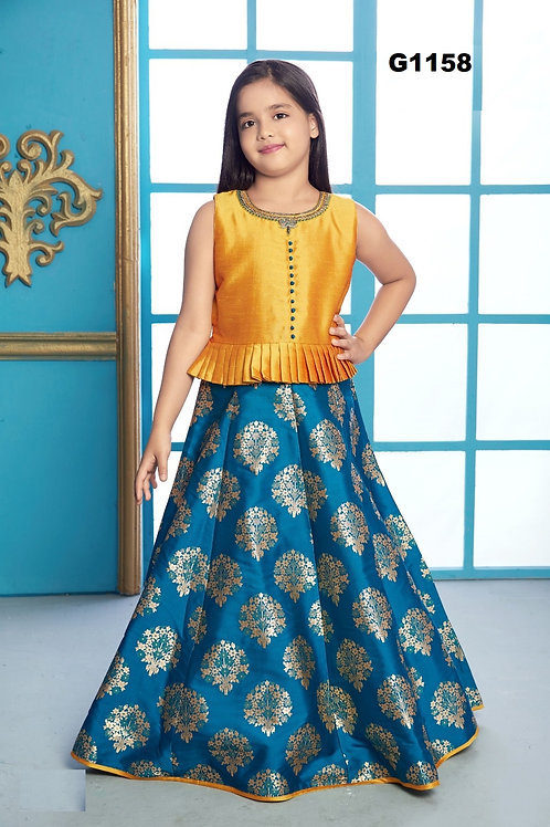Yellow and Blue Girls long gown   - G1158