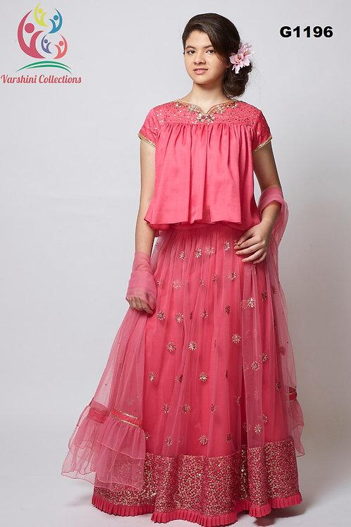 Pretty Pink hued Net Girls Lehenga Choli - G1196