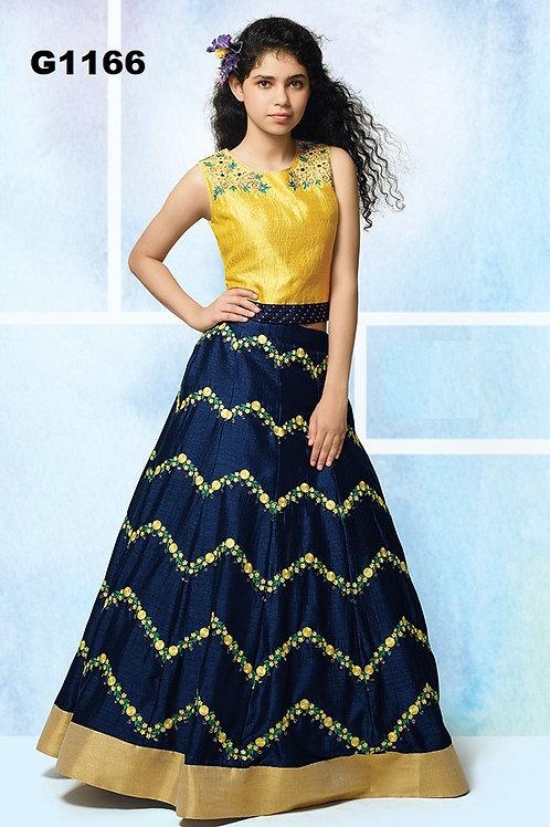 Navyblue and yellow embroidered Silk Girls  Lehenga Choli - G1166