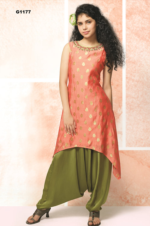 Girl's Designer Silk Salwar set - G1177