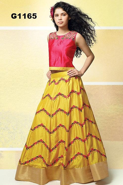 Yellow and red embroidered Silk Girls  Lehenga Choli - G1165