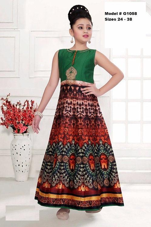 Green Digital printed Girl's Anarkali Dress - G1058