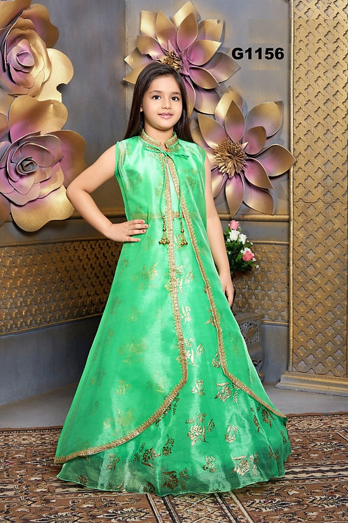 Green  and Gold Girls Long Gown  - G1156