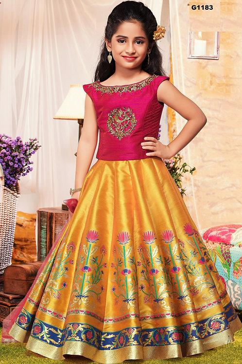 Festive Pink and Yellow Girls Silk Lehenga Choli - G1183