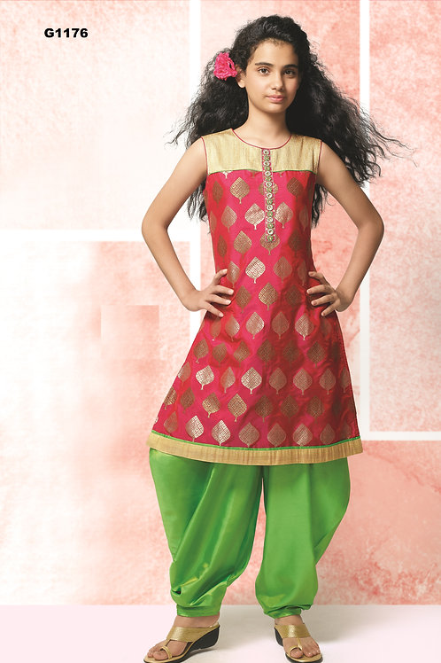 Banarasi Green and pink Girl's silk Patiala set - G1176