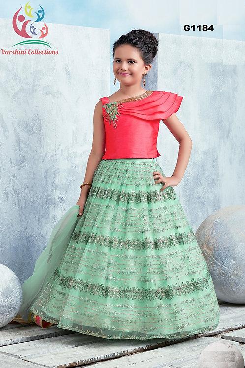 Teal and pink Girls Lehenga Choli - G1184