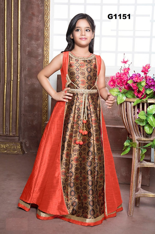 Orange Brocade girls long Gown - G1151