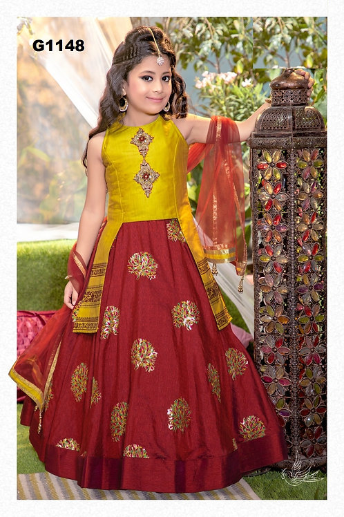 Mustard and Maroon Girls  Lehenga Choli - G1148