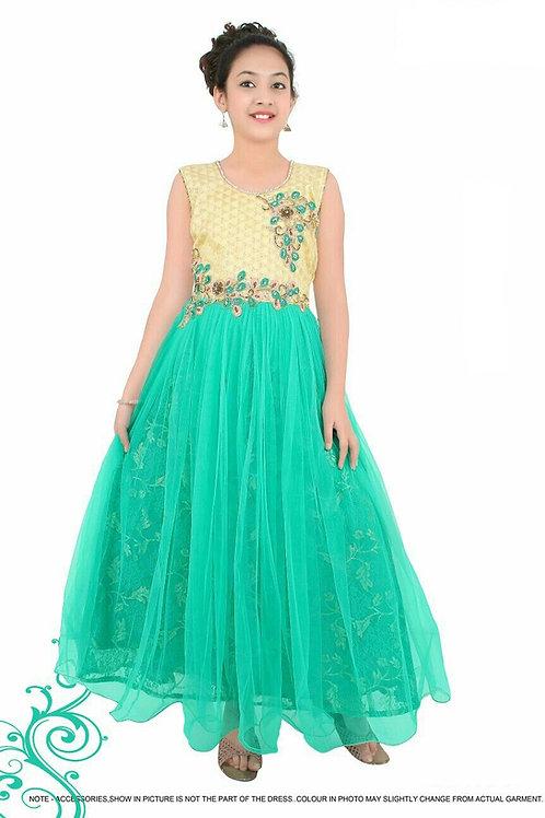Girls Green long gown - G1029