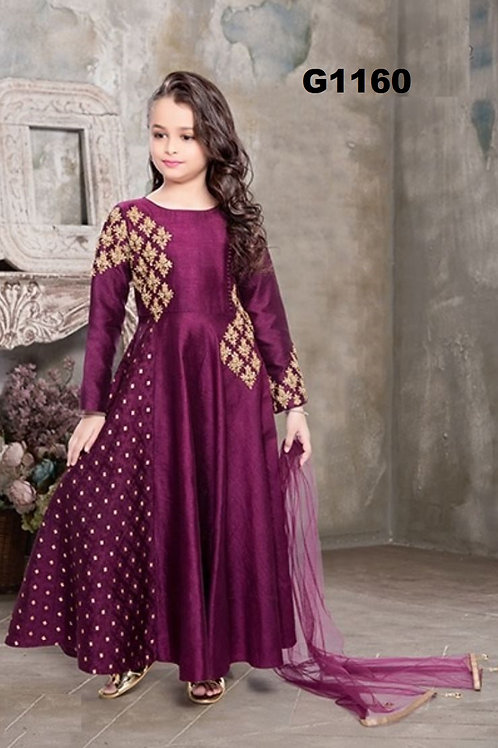 Dark purple hued girls chudidar anarkali - G1160