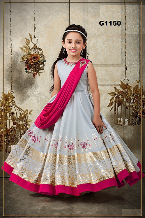 Grey and pink Girls Designer Gown - G1150