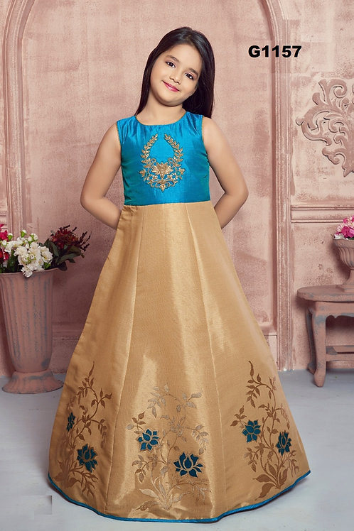 Blue and Beige Girls long gown   - G1157