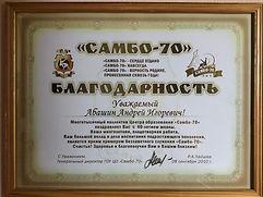 благодарность самбо 70 Абашин А,И..JPG