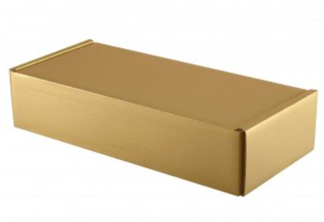 Geschenk Karton für 2 Flaschen (gold)