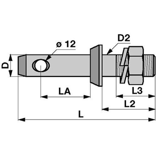 Unterlenkerbolzen M22x1,5 28 mm