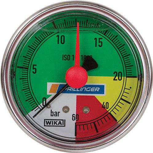 Glyzerin Manometer WIKA 63mm 0-20/60bar Anschl. hi 1/4 Zoll