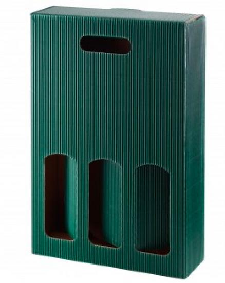 Geschenk Karton für 3 Flaschen (grün)